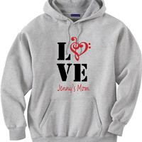 Band mom shirt.  Personalized with musician's name.  Hoodie sweatshirt.  Music love.  Band love.