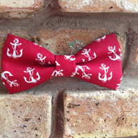 """5.5"""" Red with White Anchors Hair Bow or Bow Tie"""