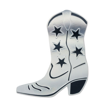Foil Cowboy Boot Silhouette Silver- Pack of 24