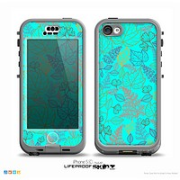 The Colorful Vector Leaves on Turquoise Skin for the iPhone 5c nüüd LifeProof Case