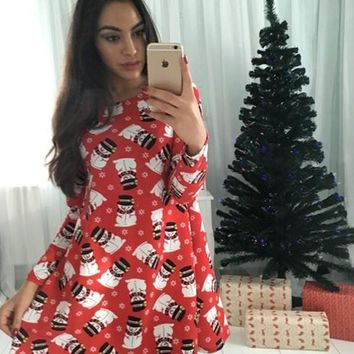 Casual Red Christmas Snowman Print Draped Long Sleeve Skater Cute Mini Dress