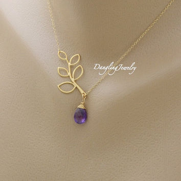 Birthstone Necklace, Leaf Branch Necklace, Amethyst Birthstone, Maid of Honor, Bridesmaid Jewelry, Flower girl Gift, Mothers Day
