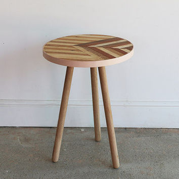 Rustic Side Table   Vintage Stool   One Off   Oak, Mahogany & Pine   Retro Style Coffee Table