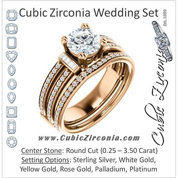 CZ Wedding Set, featuring The Kaitlyn engagement ring (Customizable Round Cut with Flanking Baguettes And Round Channel Accents)