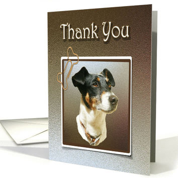 Thank You Greeting Card, with Cute Jack Russell Dog card