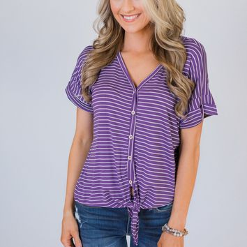 Sweet On You Striped Top- Violet