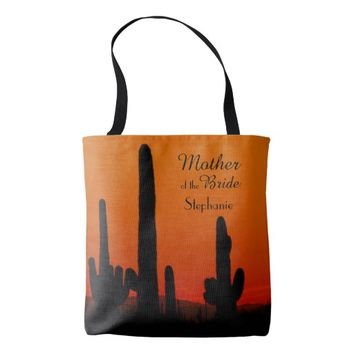 Mother of the Bride Custom Tote, Saguaro Sunset Tote Bag