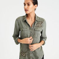 AE Floral Embroidery Military Shine Shirt , Olive