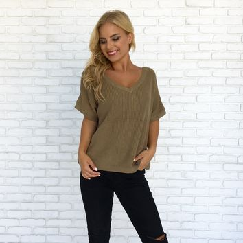 Take Me Back Knit Top in Olive