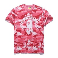 PEAPJ1A Bape Aape Stylish Camouflage Print Cotton Short Sleeve T-Shirt Top Pink I