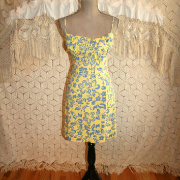 Hawaiian Beach Dress Summer Dress Spaghetti Strap Sexy Sundress Cotton Sun Dress Yellow + Blue Women Dresses Size 2 Dress XS Womens Clothing
