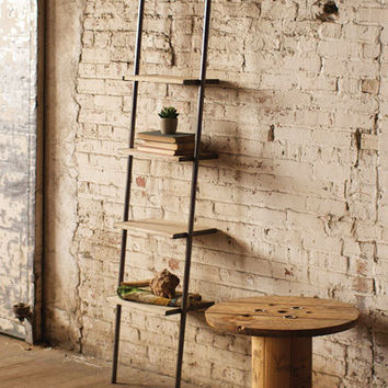 Leaning Metal & Wood Shelving Unit Small