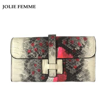 JOLIE FEMME  Women Genuine Leather Wallet TwoTypes Long Purses With Card Holder Luxury Brand Designer Snake Skin Wallet Purses