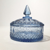 Vintage Indiana Glass Princess Candy Dish, Blue Glass Covered Candy Dish, Indiana Glass Diamond Princess Blue Lidded Candy Bowl Trinket Dish