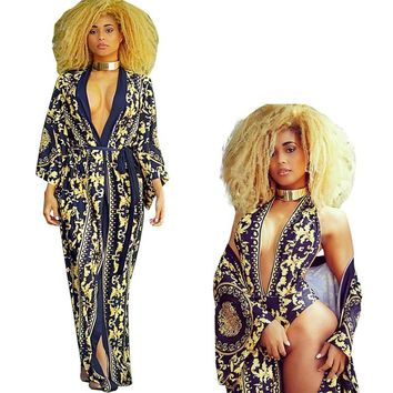 Swim Cover-Ups 2 Pieces Set Sexy Halter V-Neck Backless Print Bodysuits Rompers Women Swimsuits Summer Beach Blouses Cardigan