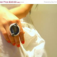 SALE 40% OFF Handmade Crochet Ring, Agate, Blue, Cotton Silver Lame Yarn, Pewter Glass Beads, Adjustable