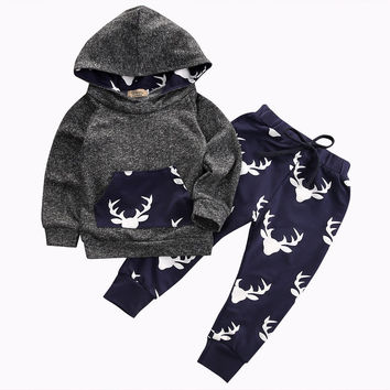 Baby Kids Spring/Autumn long sleeve reindeer sets Outfit Babies Boys Girls Warm Deer Hoodie Top+Pant outfits Clothes Clothing