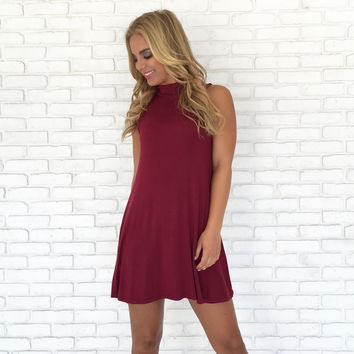 Take Charge Tunic Dress in Burgundy