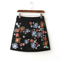 Tangada Fashion 2016 Women Overalls Elegant Black Embroidery Back Zipper Mini A-Line High Waist Skirt Vintage Brand Female BE185