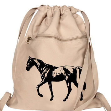 Horse Backpack canvas drawstring Book Bag