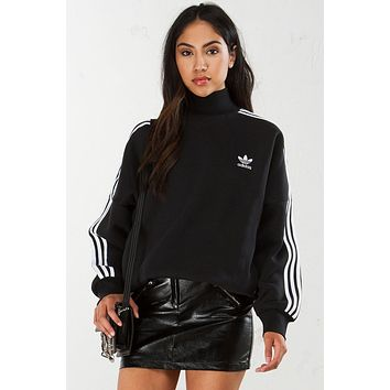 Adidas Originals Black High Neck Three Stripe Pullover Sweater