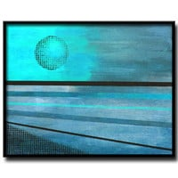 Abstract moon landscape painting in turquoise and blues, modern art with stripes, blue moon, choice of sizes and finish