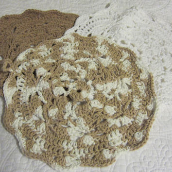 Crochet Dishcloth/Washcloth 100% Cotton Multi Color, Brown and White Round with Scalloped Edge Set of 3