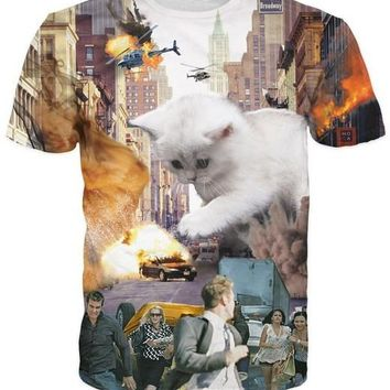 3D Printed Cat T Shirts Attack of the 50 foot Kitty