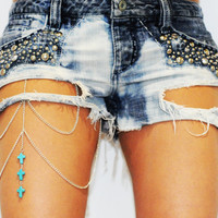 Turquoise Cross Thigh Chain Leg Chain Body Chain