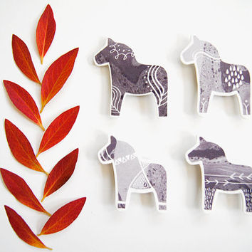 Swedish Dala Horse Magnets - Set of 4 - Scandinavian Nordic Kitchen Home Decor - Black White Gray - Monochromatic