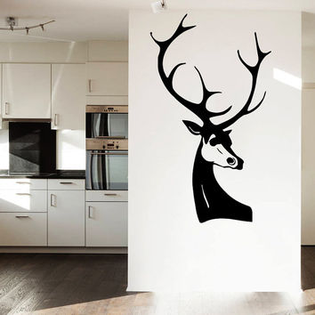 Wall Decal Vinyl Sticker Decals Art Home Decor Design Mural Elk Deer Horns Animal Head Hunting Kids Children Nursery Baby Bathroom AN106