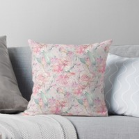 'floral blush' Throw Pillow by SylviaCook