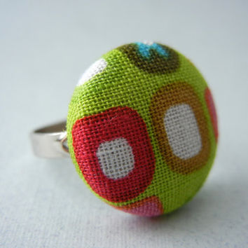 Fabric Button Ring - Green Fabric Ring - Funky Everyday Ring