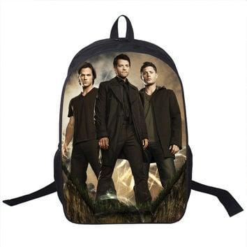Tv Show Supernatural Backpack Sam Dean Castiel School Bags For Teenagers Men Women Daily Backpack Boys Sport Backpacks Bookbag