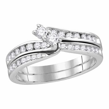 14kt White Gold Women's Round Diamond 2-Stone Hearts Together Bridal Wedding Engagement Ring Band Set 1/2 Cttw - FREE Shipping (US/CAN)