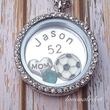 Soccer Mom Locket, Soccer Mom Necklace, Hand Stamped Necklace, Floating Locket, Football Mom Necklace, Football Mom Gift, Sports Locket