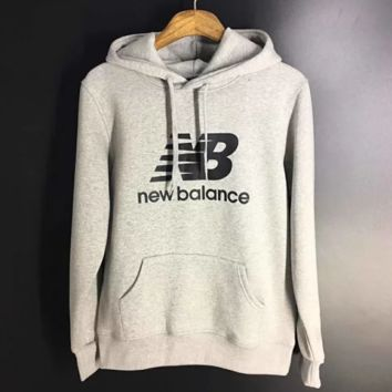 New Balance new fashion bust letter print high quality women men long sleeved hooded sweater Gray