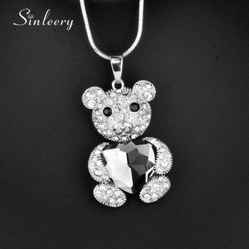 SINLEERY Cute Lovely Heart Crystal Little Bear Pendant Necklace Silver Color Long Chain For Female Party Jewelry Gifts MY115 SSB