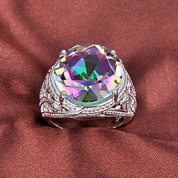 48 CT Rainbow Mystic Topaz Friendship Love Engagement Solitaire Ring