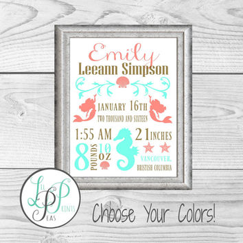 Mermaid Nursery Wall Art, Mermaid Birth Stats, Mermaid Birth Details Print, Mermaid Baby GIft,Custom Mermaid Baby Gift, Mermaid Nursery Art