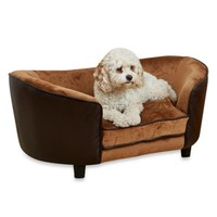 Snuggle Velvet and Faux Leather Large Dog Bed in Pebble Brown