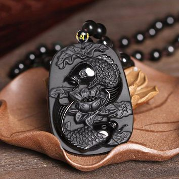 Drop Shipping Fine carving Obsidian two fish and lotus black Obsdian pendant men's jewelry
