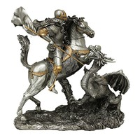 A Veronese St. George with dragon statue in a pewter style finish with golden highlights, 11.5 inches