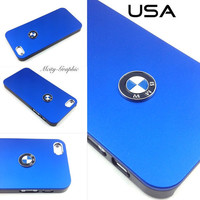 BMW Series iPhone 5 Case Sport Car Emblem Logo  Aluminum metallic Cover  - Blue