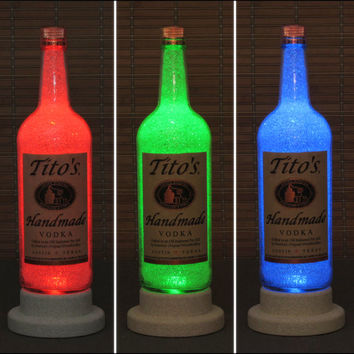 Tito's Handmade Texas Vodka Color Changing LED Remote Controlled Bottle Lamp Bar Light  Fathers Day Bodacious Bottles-