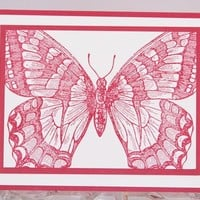 Butterfly in Rose All Occasion Hand Made Card