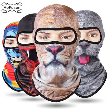 Cycling Full Face Mask 3D Cs Caps Motorcycle Scarf Head Windproof Sunscreen Animal Hiking Ski Funny Grimace Mask Breathable Thin