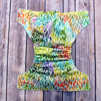 All in Two Diaper - Leaves AI2 Cloth Diaper -One size Gender Neutral -Hemp Bamboo Insert- Sage Cotton Velour-Eco-Friendly-Feather all in one