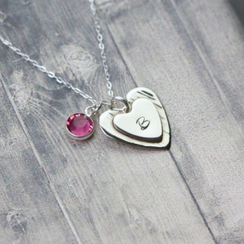 Handmade Argentium Sterling Silver heart pendant, custom monogram, personalized heart necklace, engraved heart jewelry, hand stamped