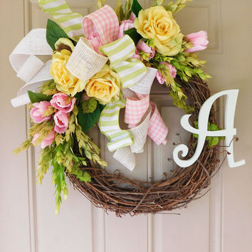 Yellow Roses & Pink Tulips Grapevine Wreath with Burlap. Year Round Wreath. Spring Wreath. Summer Wreath. Monogram Wreath. Door Wreath.